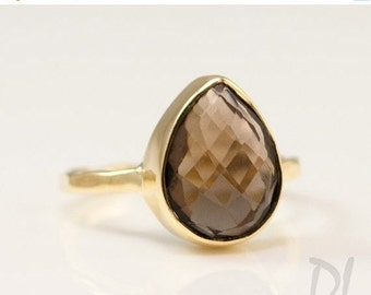 SALE - SALE - Smokey Quartz Ring Gold - Tear Drop Ring - Brown Stone Ring - Solitaire Ring - Stacking Ring - Gold Ring - Square Gem Ring - S