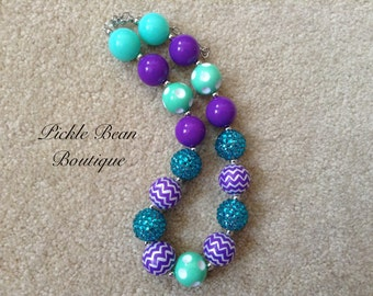 Bubblegum Necklace, Purple and Teal Necklace, Chunky Baby Necklace, Girls Kids Necklace, Mint Bubble Gum Necklace, 1st Birthday Outfit