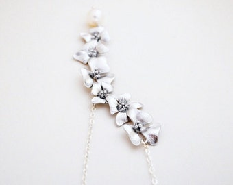 Elongated Silver Cherry Blossom Necklace with Round White Freshwater Pearl, Sterling Silver Chain,  Wedding Jewelry, Gift Under 35