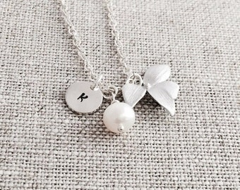 Personalized Wild Orchid Necklace, Freshwater Pearl, Sterling Silver, Monogrammed Gift, Wedding Jewelry