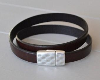 Mens Leather Bracelet, Leather Wrist Wear, Mens Bracelet, Wrap Leather Bracelet, For Men, Gift for Father