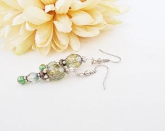Greenery Earrings, Boho Green Earrings, Green Gray Beaded Earrings, Best Friend Gift, Festival Dangle Earrings, Gypsy Ethnic Earrings