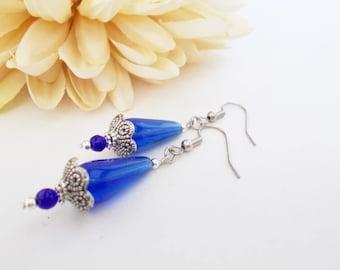 Blue Teardrop Earrings, Navy Bridesmaid Jewelry, Cobalt Dangle Earrings, Romantic Wedding Jewelry, Maid of Honor, Anniversary Gift for Wife