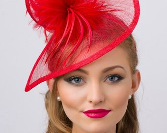 """Red Twist Mesh Fascinator - """"Victoria"""" Red Mesh Fascinator Hat Headband with Red Flighty Feathers"""