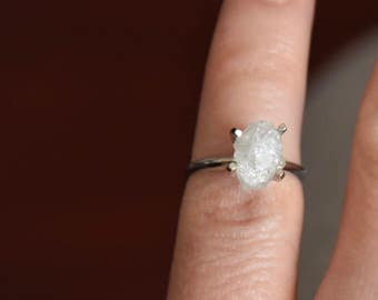 14 k white gold -snow white-raw rough uncut diamond - solitaire-promise- engagement ring- princess style- size 4