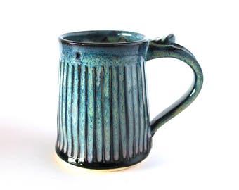 Handmade Mug, Pottery Coffee Mug in Black and Blue by RiverStone Pottery