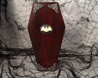 Dark Burgundy Bat Cameo Goth Wood Coffin