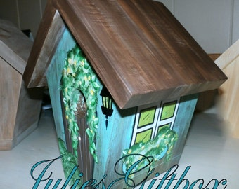 Hand Crafted Birdhouse, Painted Teal, Brown, Green Cottage Style Bird House, Indoor, Outdoors-Gift Bird house-Made In The USA-Ready To Ship