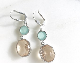 Champagne and Aqua Dangle Earrings in Silver.  Mint Champagne Dangle Earrings.  Champagne Drop Earrings. Bridesmaids Gifts.