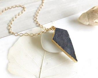 Black Druzy Arrow Necklace in Gold. Druzy Necklace. Crystal Necklace. Black Druzy Necklace.