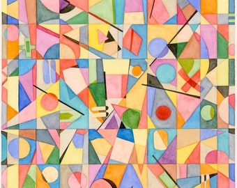 Tangent: ARCHIVAL PRINT of original watercolor painting abstract geometric colorful wall art
