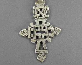 Vintage Ethiopian Cross, Silver Cross, Coptic Cross, Talisman, Amulet, Boho,  North African Jewelry, Vintage African,