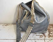 Steel Blue Shimmer Suede Tote with Tassels and Handwoven Strap - Ready to Ship - OOAK