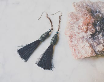 Silk Tassel Earrings, Boho Tassels, Fringe Jewelry, Beaded Black and Peacock Blue