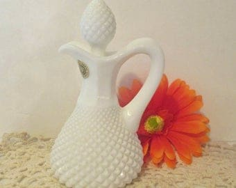 Vintage Westmoreland English Hobnail Diamond Cut Milk Glass Vinegar Cruet