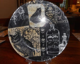 Fabric backed 10 inch glass plates, gothic, halloween, gothic fabric backed plates, creepy, gothic dinnier plate, display plate