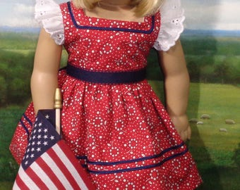 Red, White and Blue Sundress and Hat for 18 inch Girls