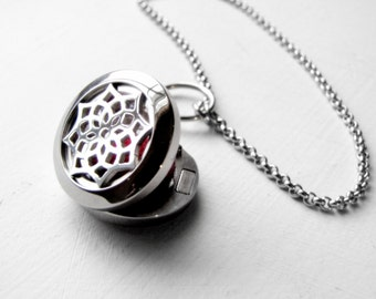 Stainless Steel Aromatherapy Locket Essential Oil Diffuser Necklace Aromatherapy Necklace Homeopathic Jewelry Essential Oil Jewelry Holistic