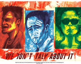 Fight Club Tryptic Watercolor 11x17 Digital print