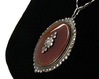 Vintage 1920's Art Deco Pendant Necklace Carnelian and Sterling Silver