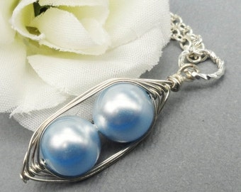 Christmas Sale Precious Boys Two Peas in a Pods Blue Swarovski Pearls. Ideal For Brides,Bridesmaids, Family or Moms
