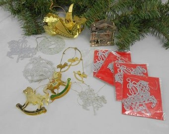 Vintage Current Inc stamped Christmas ornaments new old stock vintage Tamerlane stamped Christmas ornaments metal French ornaments 3D