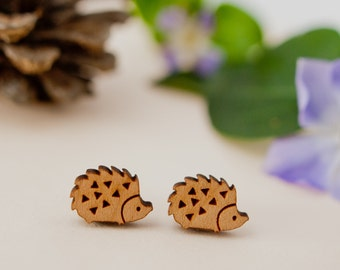 Hedgehog Earrings, Hedgehog Studs, Wooden Hedgehog Earrings, Hedgehog Jewellery, Hedgehog Gift, Hedgehog Lover, Sterling Silver Earrings