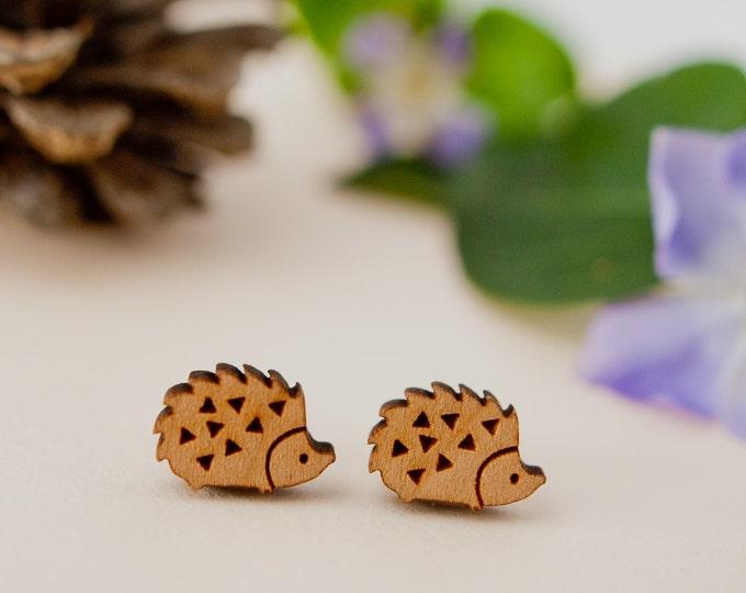Featured listing image: Hedgehog Earrings, Hedgehog Studs, Wooden Hedgehog Earrings, Hedgehog Jewellery, Hedgehog Gift, Hedgehog Lover, Sterling Silver Earrings