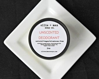 Unscented Natural  Vegan Deodorant, Aluminum Free Deodorant