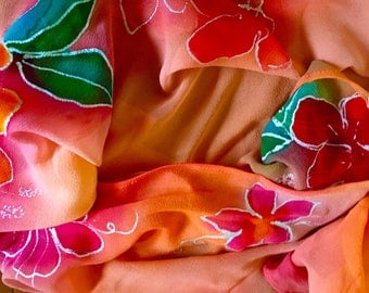 Tropical Sunset Handpainted Georgette by The Silk Maid