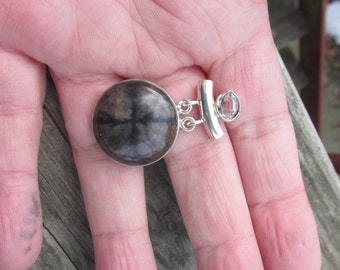 Large and Beautiful Chiastolite and Clear Quartz Pendant, 925 Silver Pendant, One of a Kind