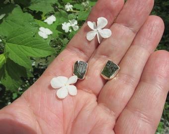 Very Beautiful Magical Moldavite Posts Studs Earrings, 925 Silver