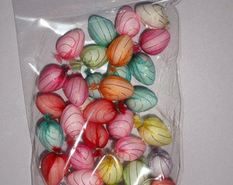 Easter Eggs 36 mini silk decorative eggs for craft card art scrapbooking nest display bonnet decorating
