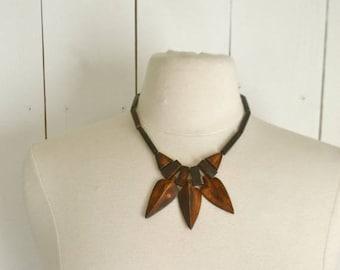 Flash Sale 25% Off Arrow Bead Necklace 1970s Brown Wooden Tribal Hippie Boho Vintage Bib Necklace