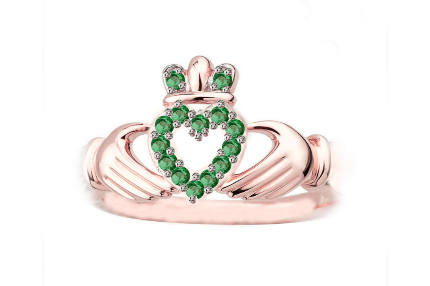 Rose Gold Claddagh Ring, Claddagh Ring, Claddagh Engagement Ring, Green  Stone Claddagh Ring