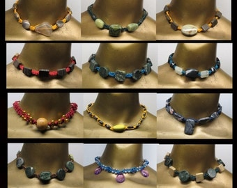 Wholesale - 12 Colorful beaded and stone fancy knotted hemp choker necklaces. Bulk lot! NLOT-015