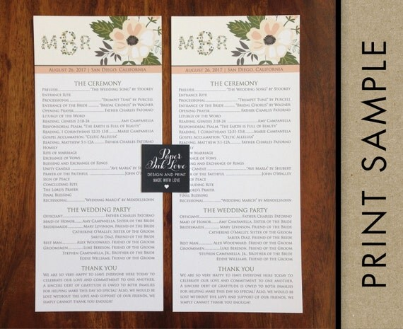 Monogram Wedding Programs Tea Length, with Flowers, Custom Printed, Ivory, Beige, Coral and Green, 20 Pieces Per Order