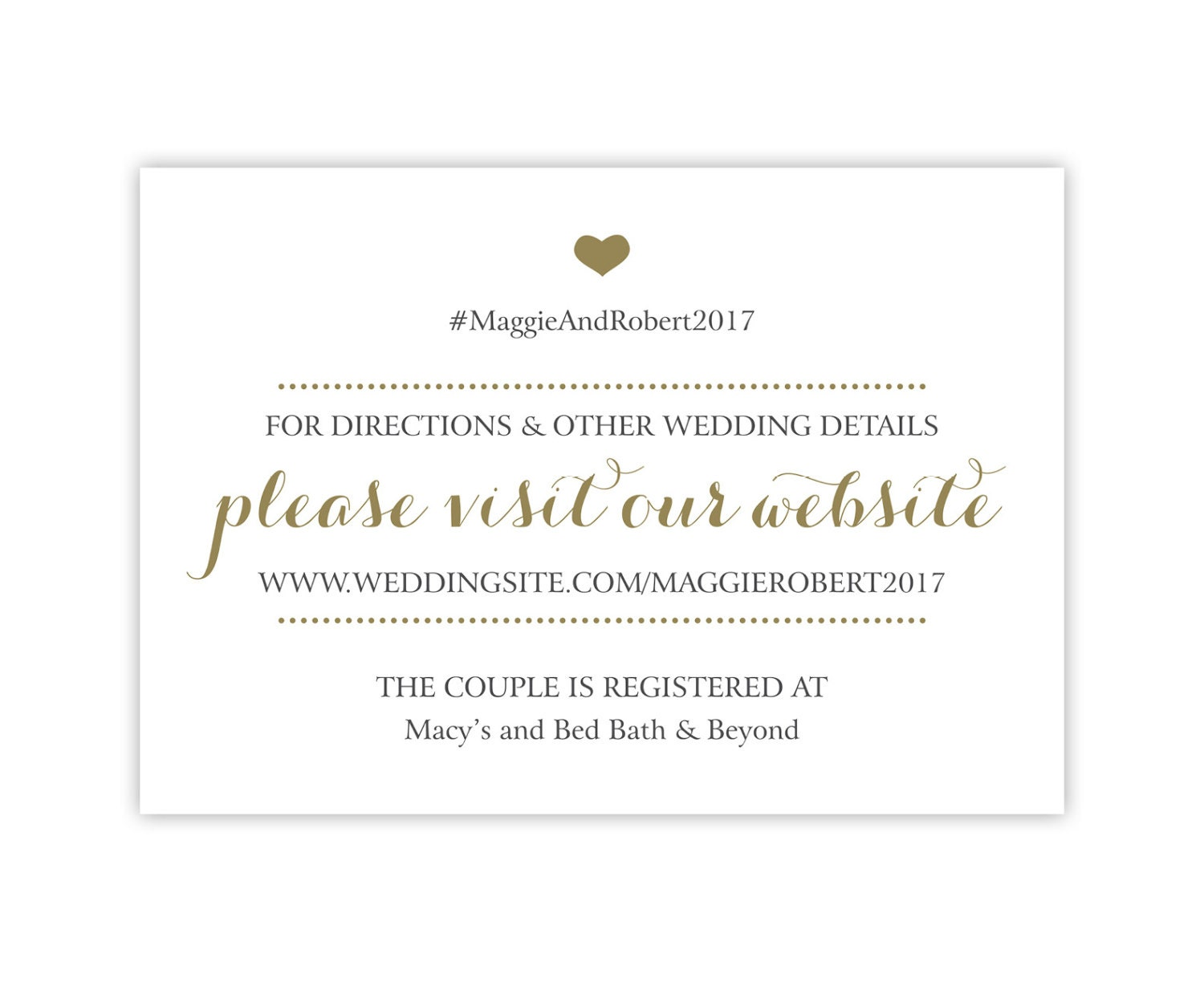 Wedding Registry Cards Enclosure Cards Wedding Website Cards Or Hashtag Cards Printed Inserts