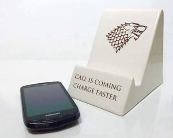 SALE Game of Thrones Gift | Phone Holder | Game of Thrones | House Stark | Free Shipping | Handmade Ceramics from my Charleston, SC Studio