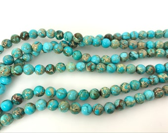 "4mm/6mm/8mm/10mm/12mm Sea Sediment Imperial Jasper Beads Round Light Turquoise Blue Loose Beads Semiprecious Gemstone 15""L  Wholesale Beads"