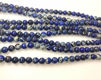"4mm/6mm/8mm/10mm Sea Sediment Imperial Jasper Beads Round Dark Blue Loose Beads Semiprecious Gemstone 15""L  4423- Wholesale Beads"
