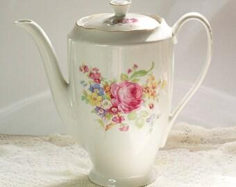 Antique Large Coffee Pot - Antique tea pot - Polish china coffee pot - flowers bouquet - gold trim -  french style