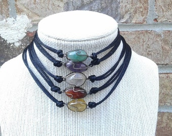 Sterling Wire Wrapped Stone/Gem Choker