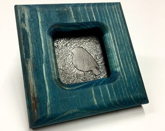 Bird - Etched Stainless Wall Art - Handmade, Frame and All