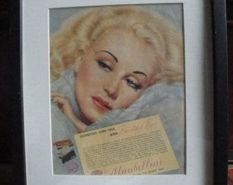 1940's Framed Maybelline BEAUTIFUL EYES Eye Makeup Advertisement
