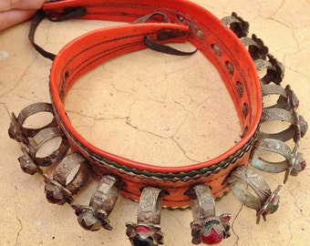 Berber Old Headdecoration, (Collar or forehead) with Old Rings & Glass, South Morocco