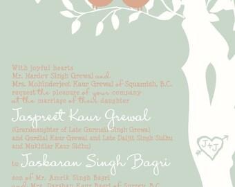 Custom Love Birds Wedding Invitation, Mint and Coral Wedding Invitation, Birds in a Tree, Custom Listing for grewal17