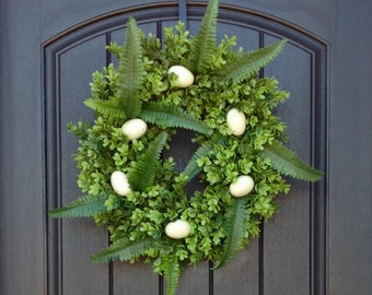 Spring Wreath-Summer Wreath-Grapevine Door Wreath-Boxwood-Farmhouse Eggs-Fern-Kitchen Decoration-Indoor/Outdoor Wreath-Easter