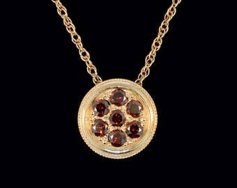 14k Yellow Gold and Red Diamond Cluster Slide Pendant or Necklace (Optional Chain)