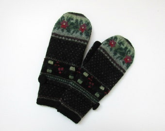 Wool Mittens Fleece Lined Fair Isle in Black Red Mulberry and Greens Felted Wool Sweater Mittens